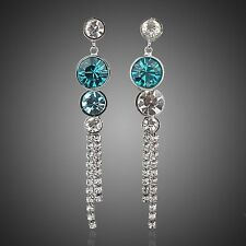 Platinum Plated Made With Swarovski Austrian Crystal Cubic Zirconia Drop Earring