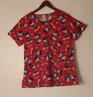 Disney Scrub Top Mickey & Minnie Mouse Hearts  Womens Nurse Size Small