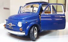LGB G Scale 1:24 Fiat 500 1965 Blue Very Detailed Burago Diecast Model Car