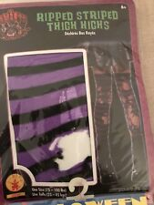 Rubies Ripped Black & Purple Striped Thigh Highs New Rubie's