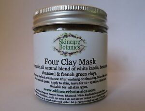 Natural Organic Four Clay Face Mask - Rhassoul, French Green, Bentonite, Kaolin