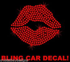 Lips Kiss Love Red Heart Rhinestone Bling Sparkle Car Decal Sticker 50-15