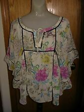 """H&M-OFF WHT/MULTI FLORAL-PONCHO TOP-RUFFLED """"SLVS""""-TIE NECK W/OPENING-8-EUC"""