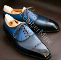 Men's handmade blue patina leather lace up dress shoes custom made shoes for men