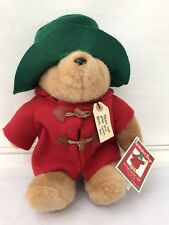 Old Vintage Paddington Bear Plush Green Hat For Macy's Eden Toys Korea Red Coat