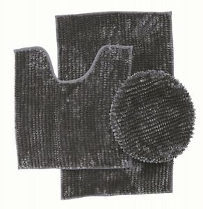 3 Piece Ultra Soft Butter Chenille Bath rug Set Made of 100%Microfiber(DarkGray)