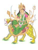 Durga Hindu Goddess Painting On Cardboard Handmade Wall Hanging