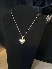 """LRG VTG ETCHED 925 STERLING SILVER PUFFY HEART PENDANT NECKLACE W 16"""" CHAIN"""