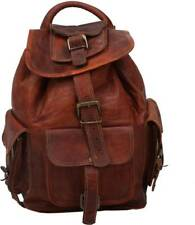 """Retro Real 16"""" Leather Men Backpack Satchel Brown Vintage Bag laptop Rusksack"""