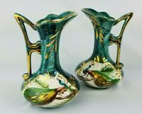 2 Depose Vintage Hand Painted #314 Vases Green With Gold Trim, Peacock Belgium