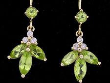 E084- Genuine 9ct Yellow Gold Natural Diamond & Peridot Drop Dangle Earrings