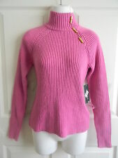 NWT RALPH LAUREN Turtle Neck Pink Sweater With Gold Tone Buttons, Size Small