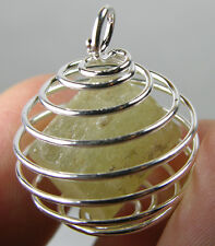 Morocco 100% Natural Rough Raw Apatite Crystal Specimen in Spiral Cage Pendant