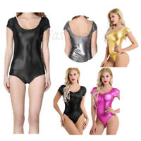 Women Leather Wet Look Ballet Bodysuit Dancer Yoga Leotard Tops Unitard Jumpsuit