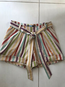 Eva Franco Women Sz 4 Belted Cuffed Shorts Multicolor Striped Cotton Lined FLAW