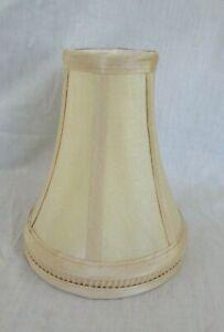 "Vtg Small Ivory Silk Shantung Clip On Bell Shape Fabric Lamp Shade 8"" h x 6.5"" B"