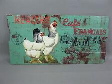 Holzbild Wandbild Bild Hühner   80cm x 40cm Holz bedruckt vintage chabby chic