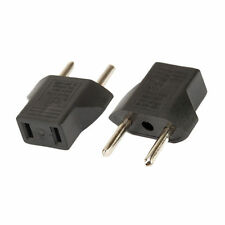 2 x US USA to Euro EU Europe Adapter Plug 2 Round Pin Converter AC110-220V