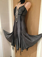 New River Island Grey & Black Lace Dress 1920s Flapper Cocktail Cruise Size 8