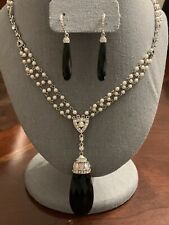 JTV Titanic Jewelry Collection Onyx Crystal Pearl Necklace & Earring Set