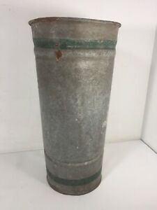 "True Vintage Farmhouse Country Galvanized Vase Flower Holder 13.5"" w stripes"