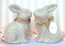 Silver Glitter*Bella Lux*Easter Rabbit/Bunny*Statue*Bow*Spring*Plaster*Set of 2