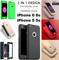Hybrid 360 Shockproof Case Tempered Glass Cover fit for Apple iPhone 6s 6 5 5S