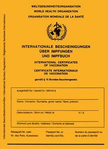 Internationaler Impfpass WHO 2021 mit Cov. 19 Seite Impfausweis -Impfbuch Hülle