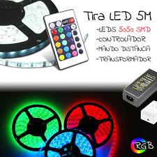 TIRA LED 5 METROS RGB 5050 SMD + mando + transformador 5A + controlador / 5m