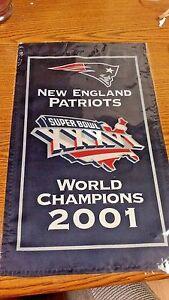 "NFL NE PATRIOTS SUPERBOWL XXXVI CHAMPIONS 2001 8.5"" X 14.25"" FLAG BANNER"