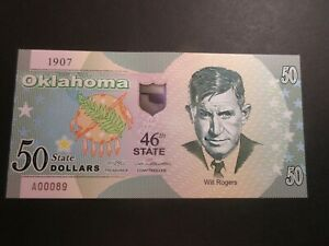 US STATES SERIES POLYMER $50 - 46th STATE - OKLAHOMA 1907 - BRAND NEW