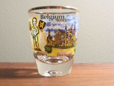 Souvenir shot glass Belgium Belgique gold rimmed colorful standard size