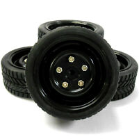 1/10 Scale RC Nitro Electric Car Plastic Wheel and On Road Tread Tyre Black x 4