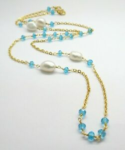 22K Gold Necklace Pearl Blue Topaz Quartz Beaded Chain Necklace 24 Inch Long