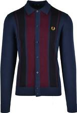 Fred Perry Striped Knitted Long Sleeved Polo Shirt Dark Carbon