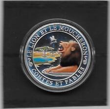 PIECES EN ARGENT COLORISE 3331000 LA FONTAINE  LE LION ET LE MOUCHERON