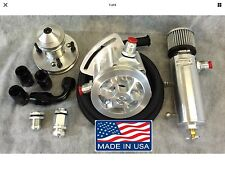 RACING BB MOPAR VACUUM PUMP 3 VANE REBUILT  AEROSPACE  BLACK HOSE KIT