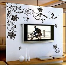 Black Flower Home Decoration Wall Sticker Living Room Bedroom Decor Wall Decal