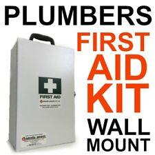 PLUMBER First Aid Kit Metal Wall Mount TRADIE OHS WHS BUILDER LOCKABLE