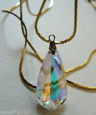 "24""L GOLD TONE CHAIN NECKLACE AURORA BOREALIS CRYSTAL DROP PENDANT"