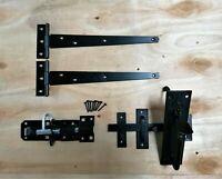 """Wooden Gate SUFFOLK Fitting Kit Garden Gate Set 250MM + 10"""" Pair Tee Hinge"""