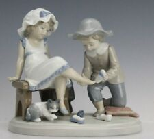 Retired Lladro Spain Try This One # 5361 Boy Girl Cat Painted Porcelain Figurine