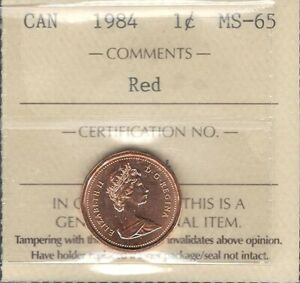 1984 Small Cent ICCS Graded MS-65 RED GEM ** STUNNING Elizabeth II Canada Penny