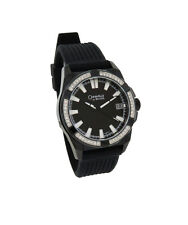 Caravelle by Bulova 45B117 Men's Black Analog Date Silicone Clear Crystal Watch