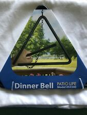 "Patio Life Triangle 9"" Dinner Bell 100% Steel w/ 12"" Chain And Hook"