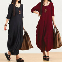 Women 3/4 Sleeve Batwing Long Maxi Dress Casual Kaftan Full Length Dress Plus