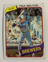 1980 Paul Molitor # 406 Milwaukee Brewers Topps Baseball Card HOF