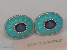JUDITH RIPKA Carved TURQUOISE and Diamonique CZ Sapphire Button EARRINGS NEW