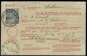 P.M.G. Dept Acknowledgement of receipt 3d KGV Collins St Melb to Sorrento Vic 39