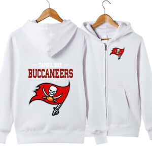 Tampa Bay Buccaneers Football Hoodie Full Zip Hooded Sweatshirt Casual Jacket